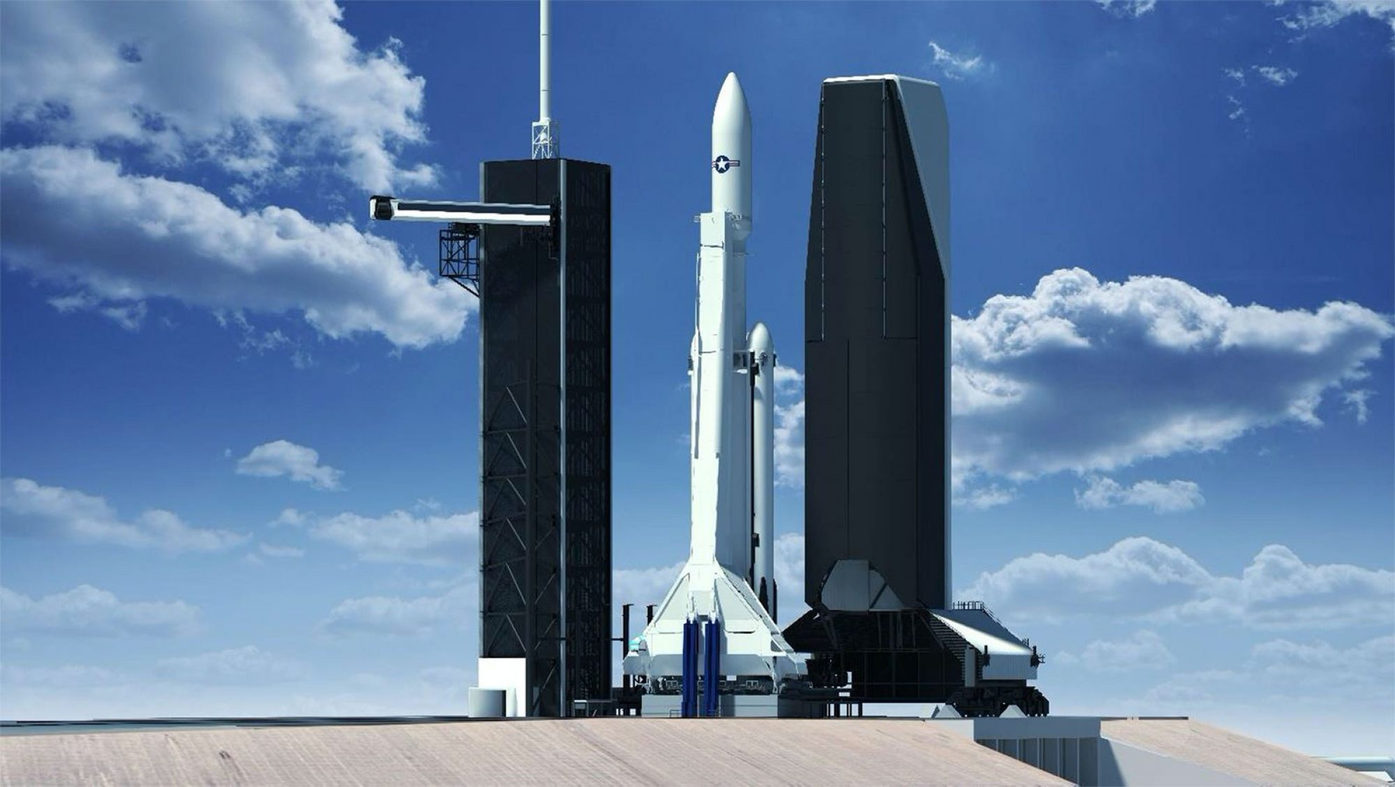 SpaceX Falcon Heavy NSSL Rendering